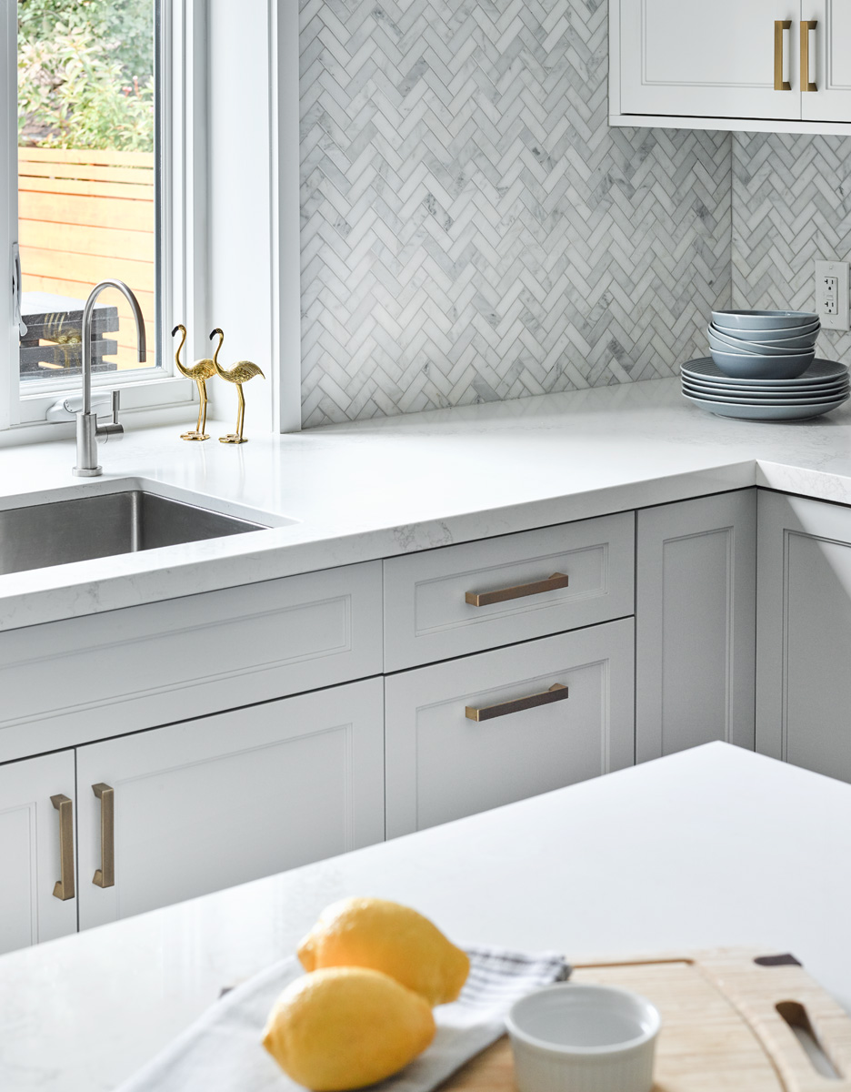 Grey Shaker Kitchen with Brass Handle