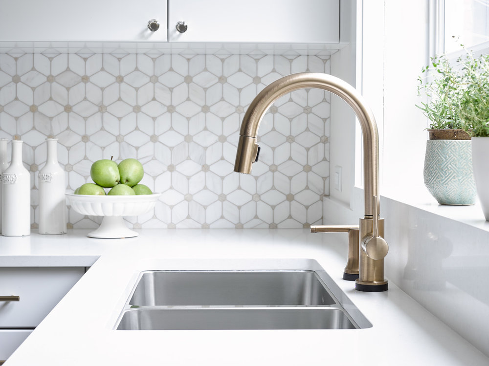 Brass Faucet White Caesarstone