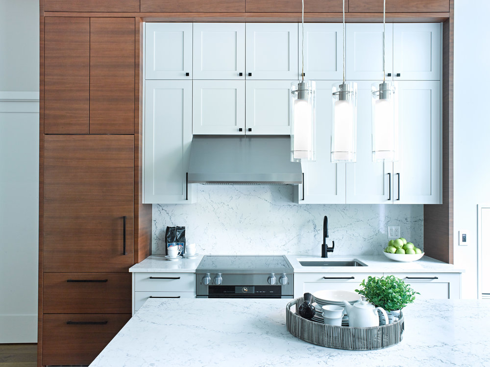 Small Shaker Kitchen with Walnut Cabinets