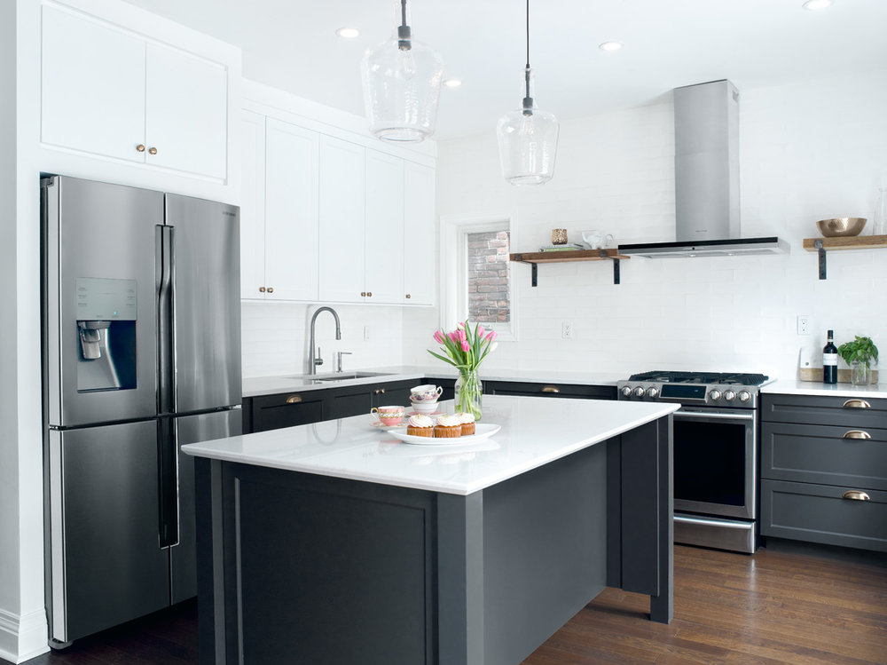 Toronto Blue Kitchen with White Uppers