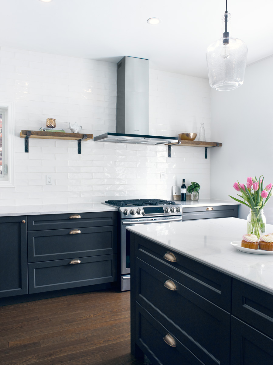 Blue Shaker Kitchen with Wood Shelves