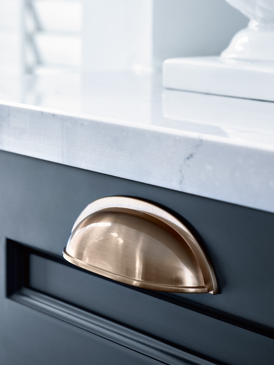 Brass Scoop Handle Blue Kitchen
