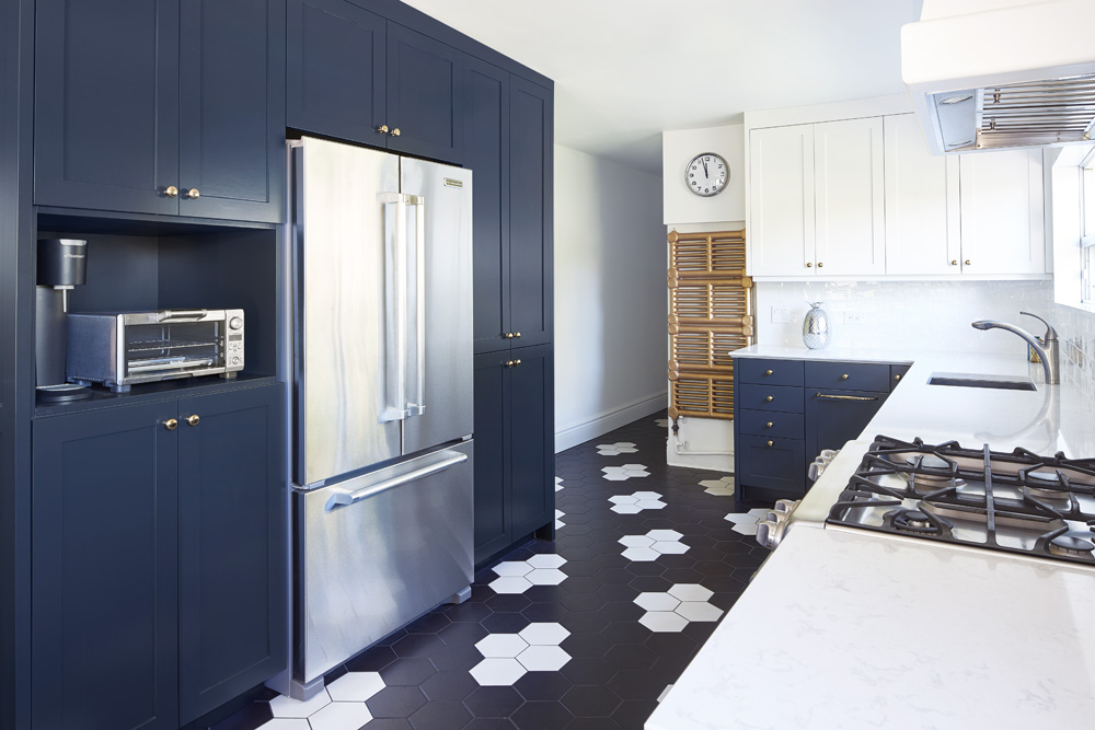 Blue Kitchen with Graphic Tile Floor