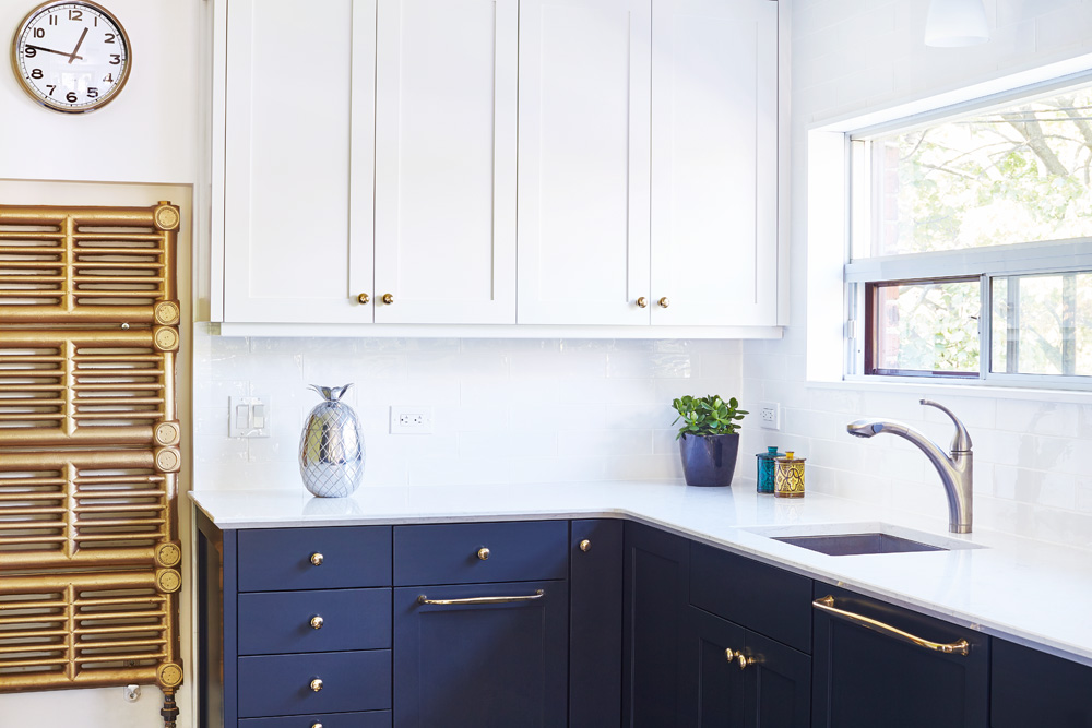 Blue Shaker Kitchen with White Uppers