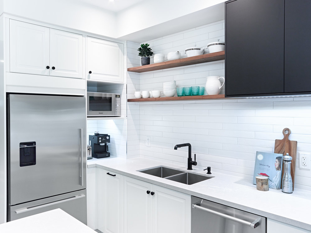 White Ikea Kitchen with Wood Shelves