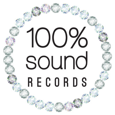 100 Precent Sound Record, Logo Design By www.JenCochrane.com
