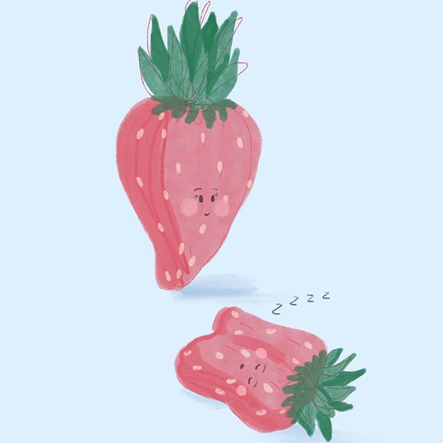 Sleepy Strawberry. Who else needs a nap?  #illustration #illustrator #illustrations #illustrationsketch #illustrationstudent #illustrationdaily #illustrationart #cute #cutiepie #drawing #draw #drawings #drawingsketch #dailydrawing #kawaii #kawaiigirl #kawaiii #kawaiidrawing #cutedrawings #cutedrawing #cutefruit #cutiefruity #art #artistsoninstagram #cartoon