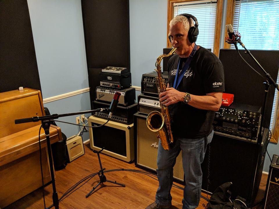 D.S. tracking sax at Brett Scott Studio in Chapel Hill, NC