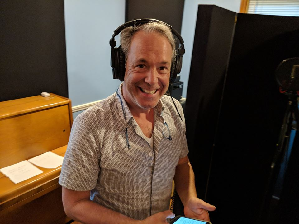 Rob Blackman laying down vocal tracks