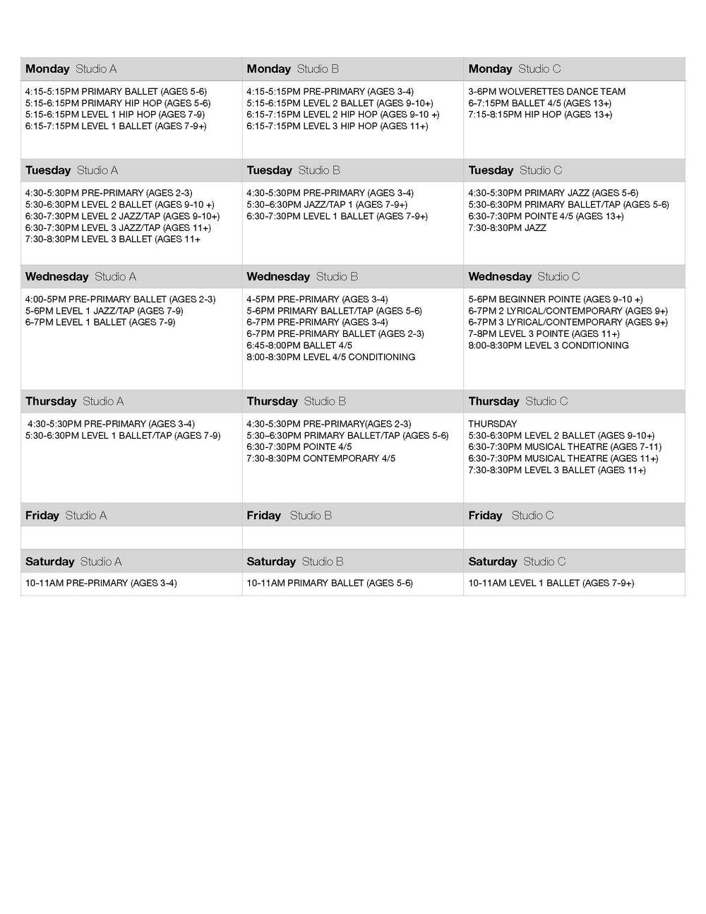 Ballet Aviv Class Schedule, Mandeville, LA