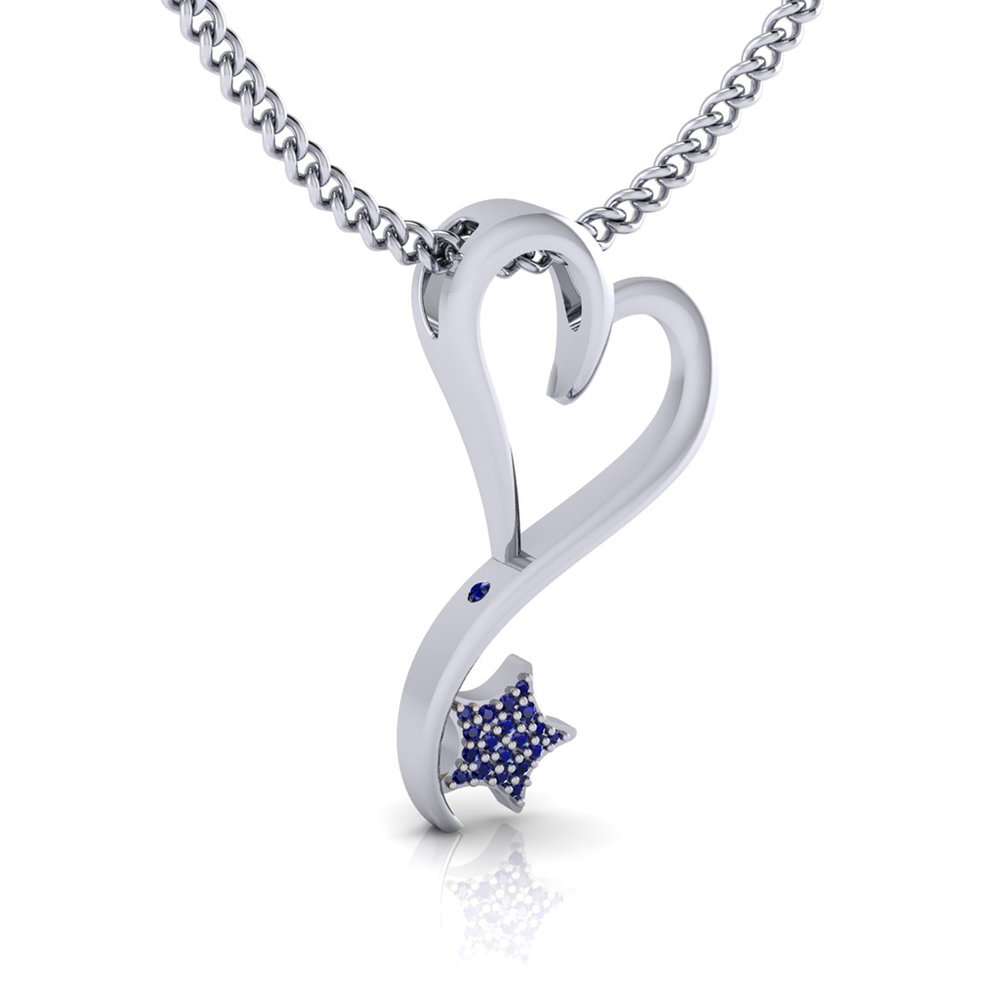 Silver and Rhodium plated with Sapphire pave' option and peek-a-boo Sapphire