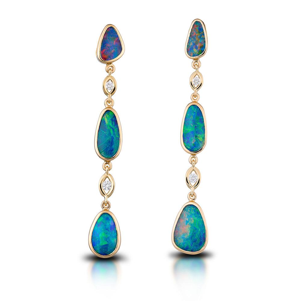 18k Yellow Gold Australian Opal Diamond Earrings Bradley S Jewelers