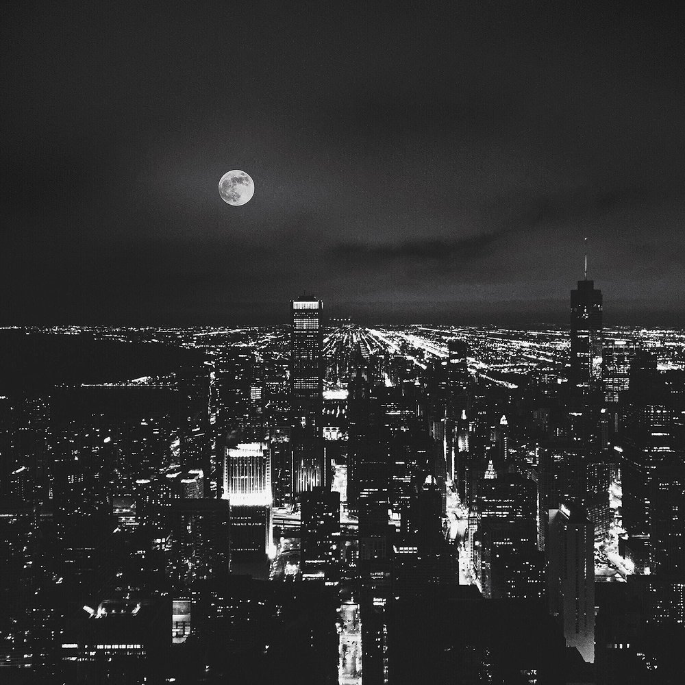 Photography by Mel Volkman Chicago Cityscape Moon Photography Beautiful Moon Cityscape Moody Astro Photography Night Sky Photography Travel Landscape Photography.JPG