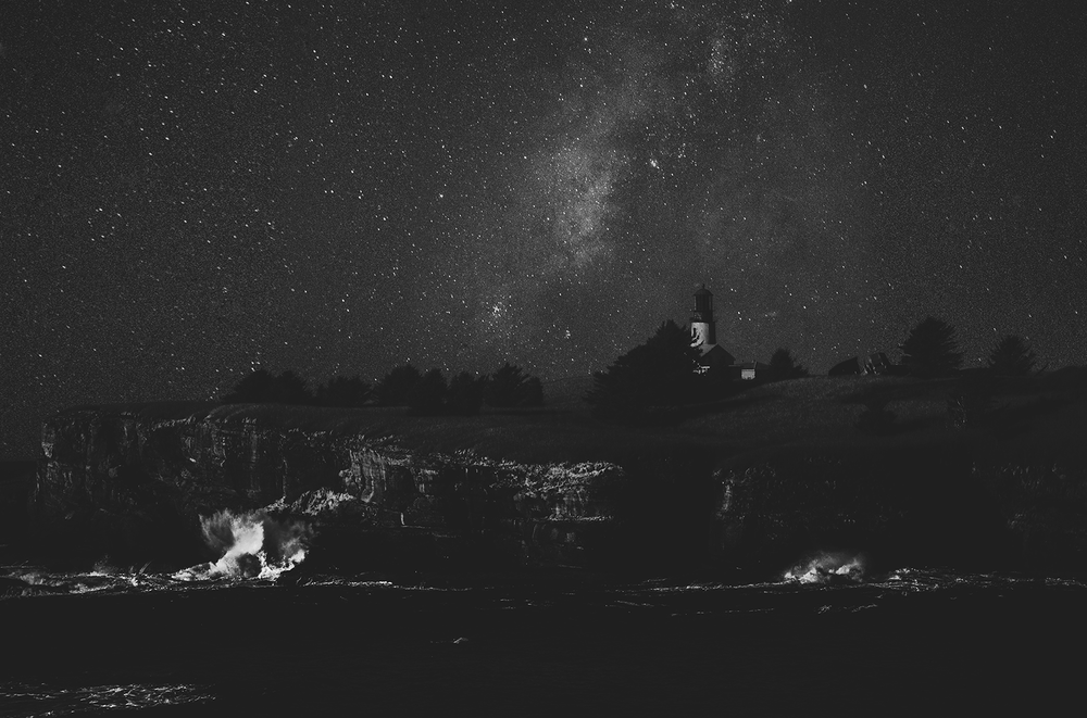 Milkway Photography by Mel Volkman Lighthouse Oregon Photography Beautiful Milkway Photo Print Black And White Photography Beautiful Astro Photography Night Sky Stars Photo Print.PNG