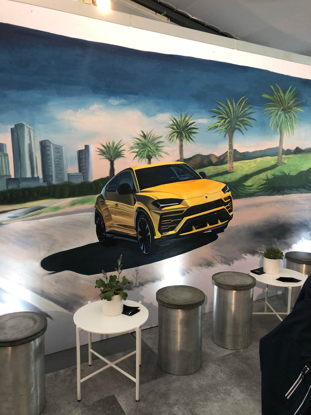 Urus Melbourne Scene,  2018, acrylic on fabric panel, 5x3m, Lamborghini Lounge, Australian Grand Prix.