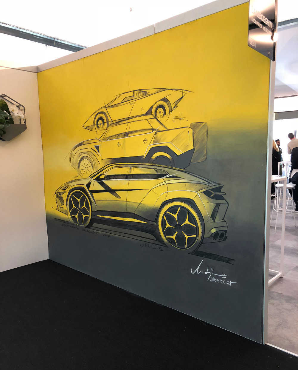 Lamborghini Genealogy,  2018, acrylic on fabric panel, 3x3m, Lamborghini Lounge, Australian Grand Prix.