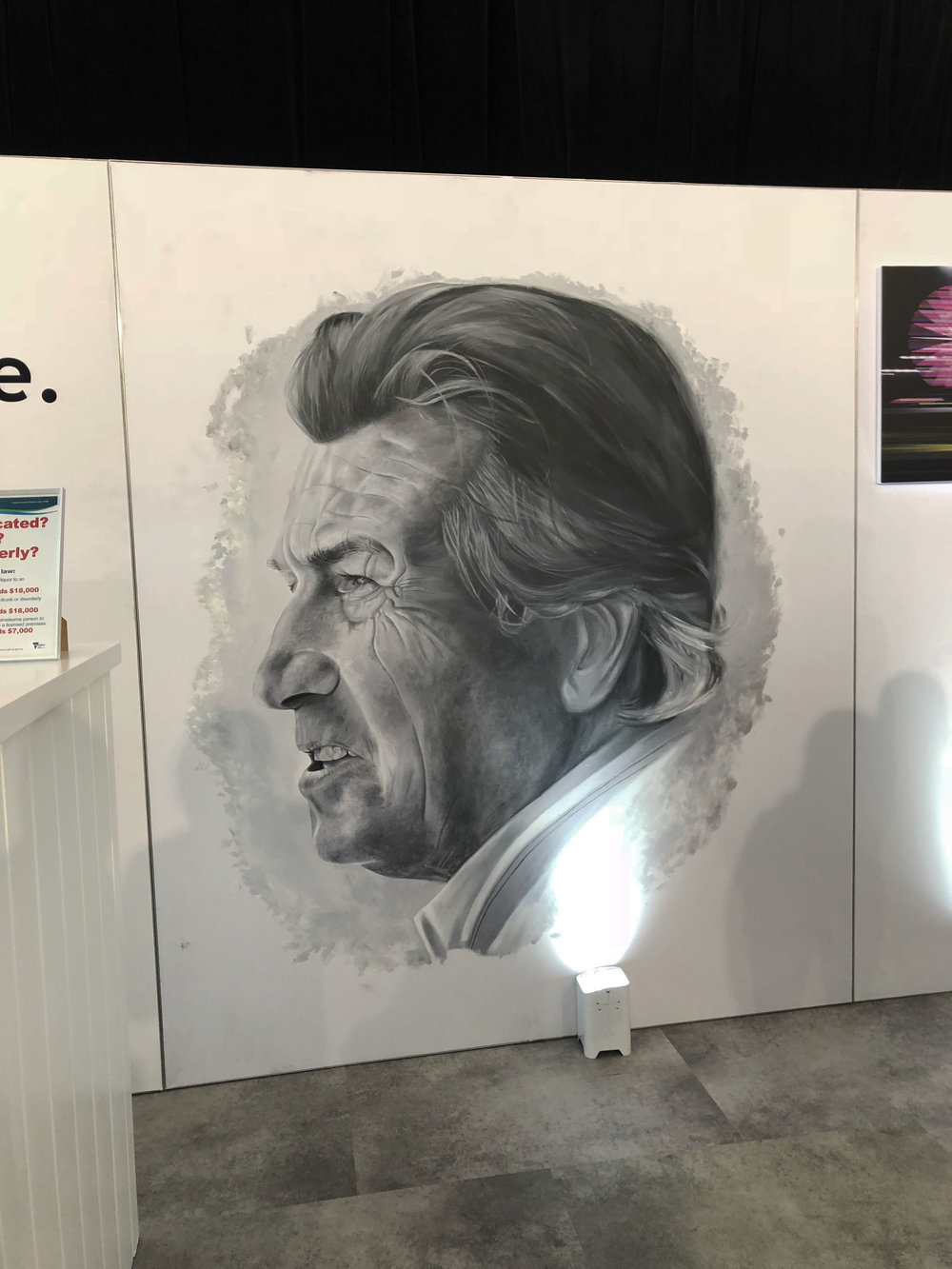 Ferruccio Lamborghini Portrait,  2018, acrylic on fabric panel, 2x3m, Lamborghini Lounge, Australian Grand Prix.