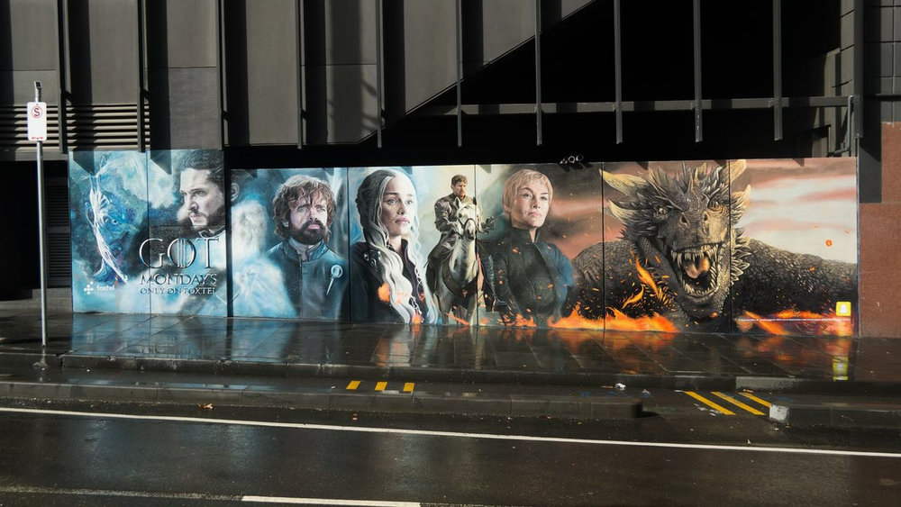 Game of Thrones (full wall in situ),  2017, 10x2.5m, Game of Thrones, Apparition Media.