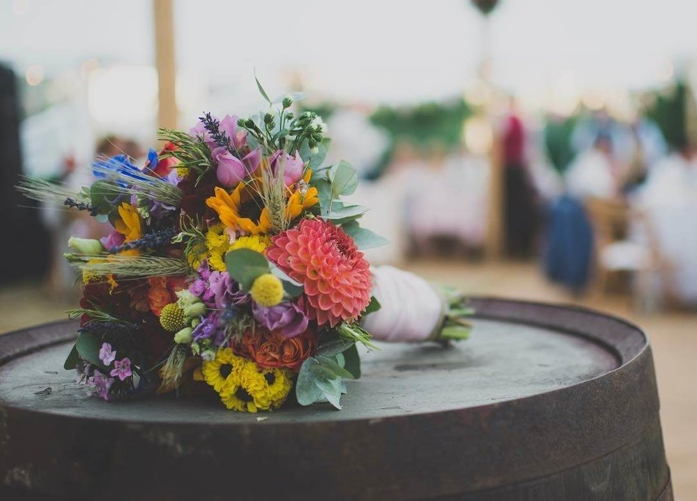 Cambridgeshire Sunflower colourfil summer bouquet barrell Wedding Flowers by Thatch & Roses Flower Studio.jpg