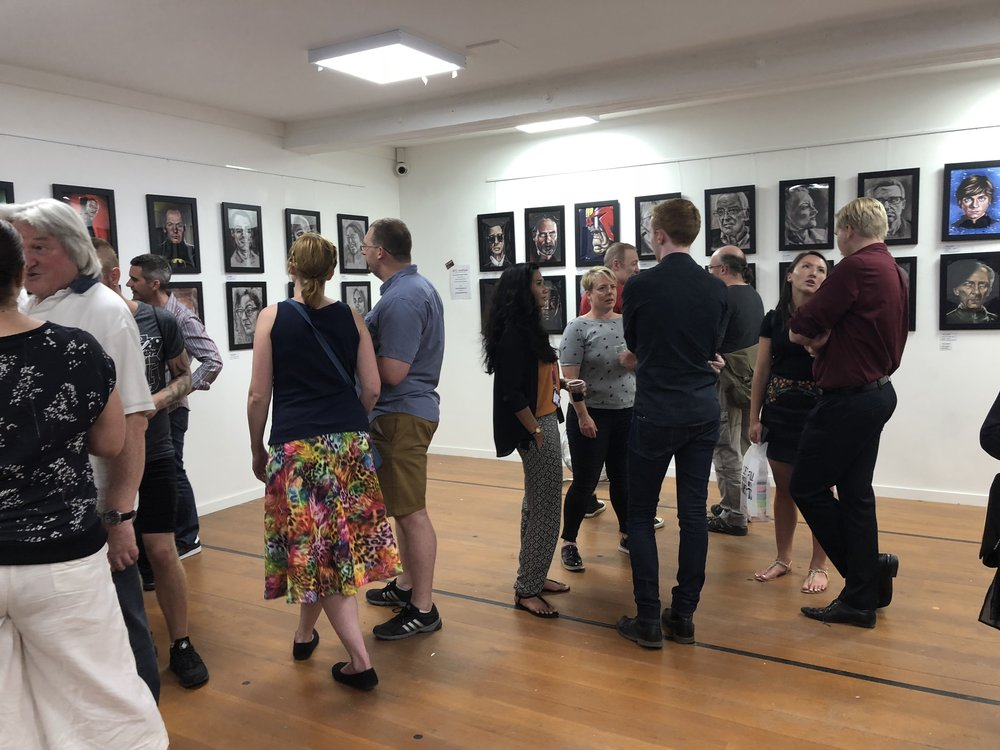 The private view open evening in full swing