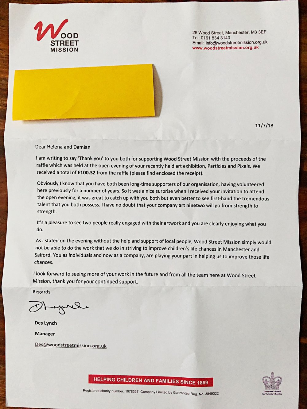 Letter from Wood St.