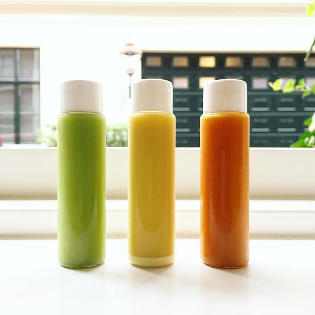 A shot a day keeps the doctor away! (Left) Flu Shot (middle) ginger shot (right) hangover shot  #coldpressed #coldpressedjuice #ginger #gingershot #gingerelixir #shot #nutrition #hangover #shopopening #amsterdam #vegan #rawjuice #plantbaseddiet #balance #fitness #health #fitfoodie #powershot #gym #detox #cleanse @ubereats_nl @deliveroo_nl @foodora.nl