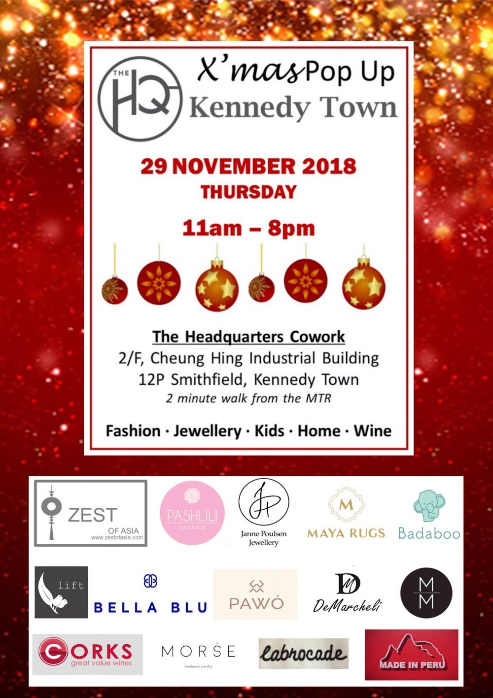 X'mas Pop up event in The Headquarters Cowork - Thu 29/11/2018 11am-8pm