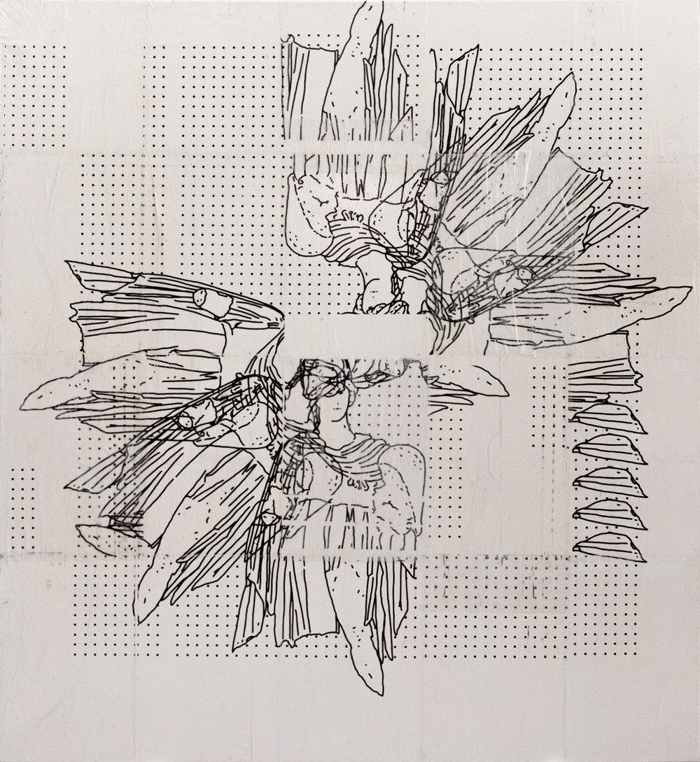 """ID 838""  Acrylic, mod podge, transparent paper, inkjet, glue on canvas  110 x 100 cm  2018"