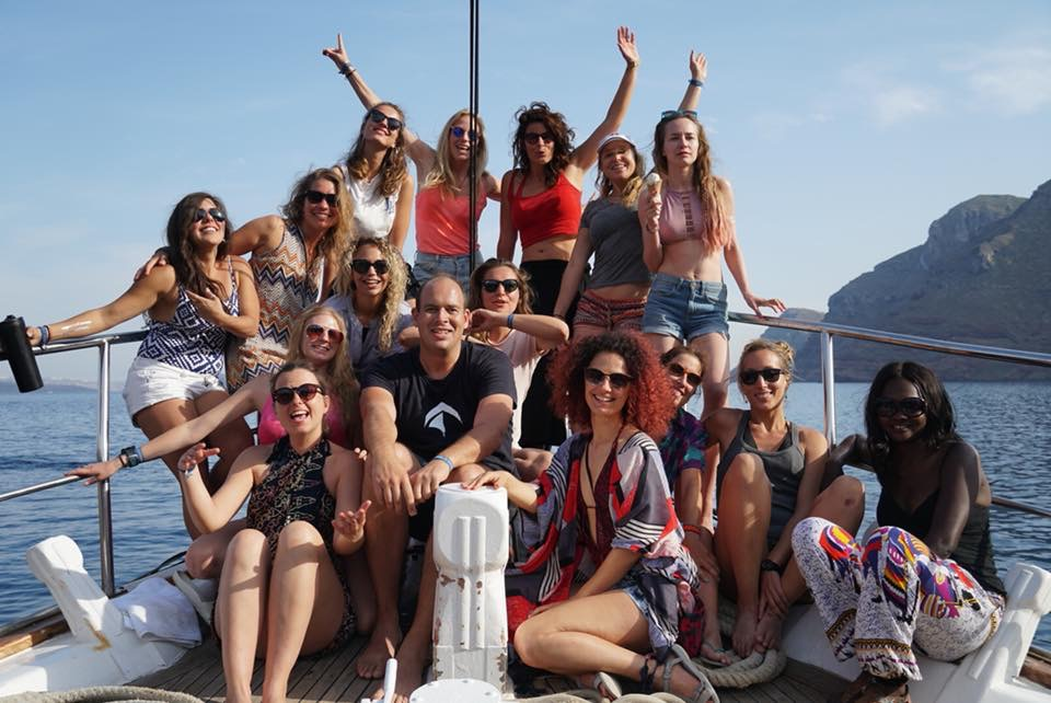 Nomad Cruise 6 crew in Santorini, Greece
