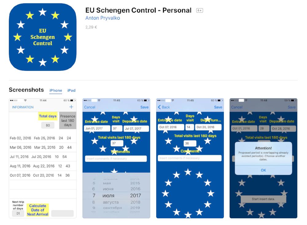 best app for calculating days in the schengen