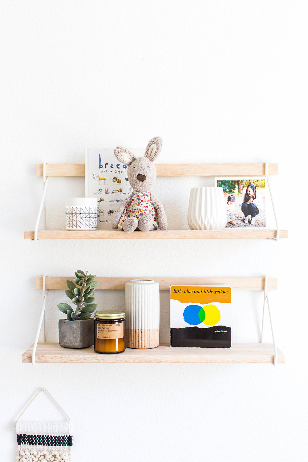 floating shelves  |  bunny  | two-tone vase (discontinued from UO) |  soy candle