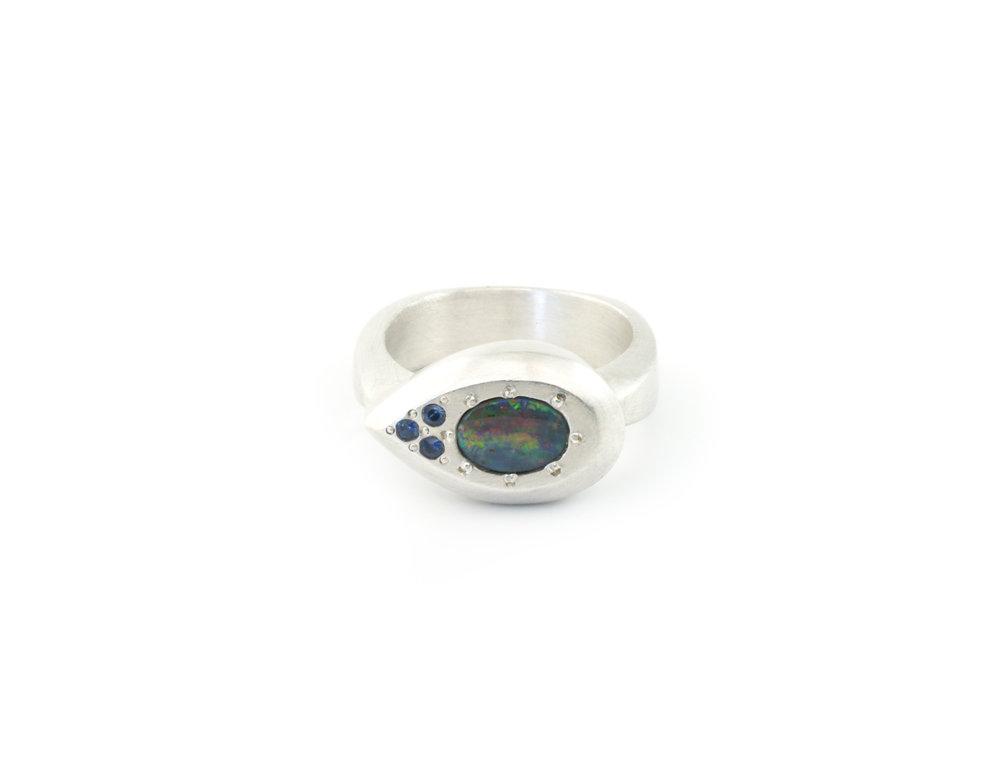 Drop Ring_Australian Boulder Opal_sapphires_front.jpg