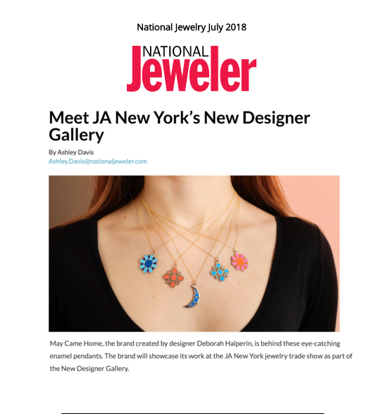 National Jeweler Feature for May Came Home