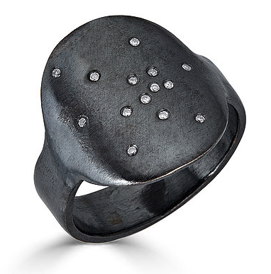 Oxidized Sterling Ring with Diamonds