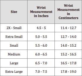 bracelet sizing chart