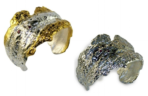 Sterling Forest Cuffs with Rubies by Josanne Mark The Jewelry Showcase