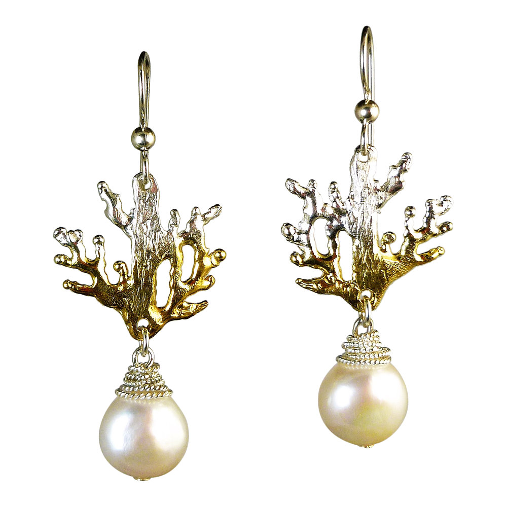 CORAL BRANCH PEARL EARRINGS