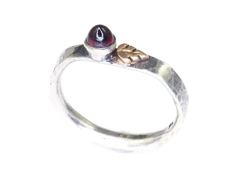 STERLING SILVER AND GARNET RING WITH GOLD LEAF BY  HEIDI KINGMAN