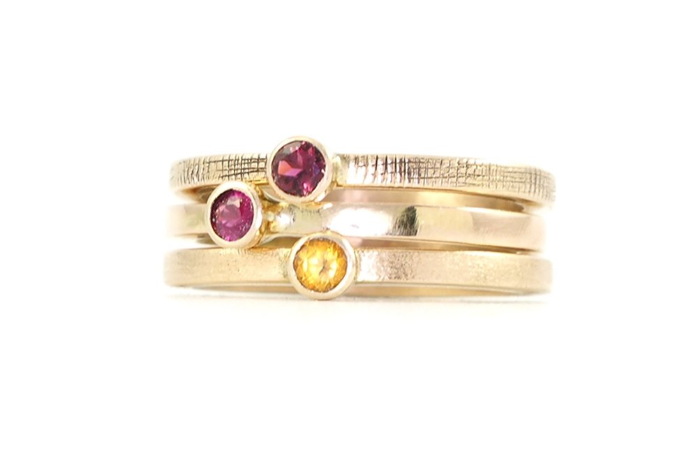 14k gold stacking gemstone rings the the jewelry showcase