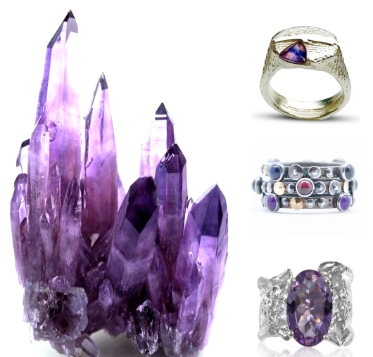 """Our """"Purple Power"""" feature on Instagram . Amethyst rings by  I Spy Artisan Jewelry ,  Airy Heights Design  and  Kristen Baird®   Amethyst crystal used in this editorial curation discovered on  tumblr"""
