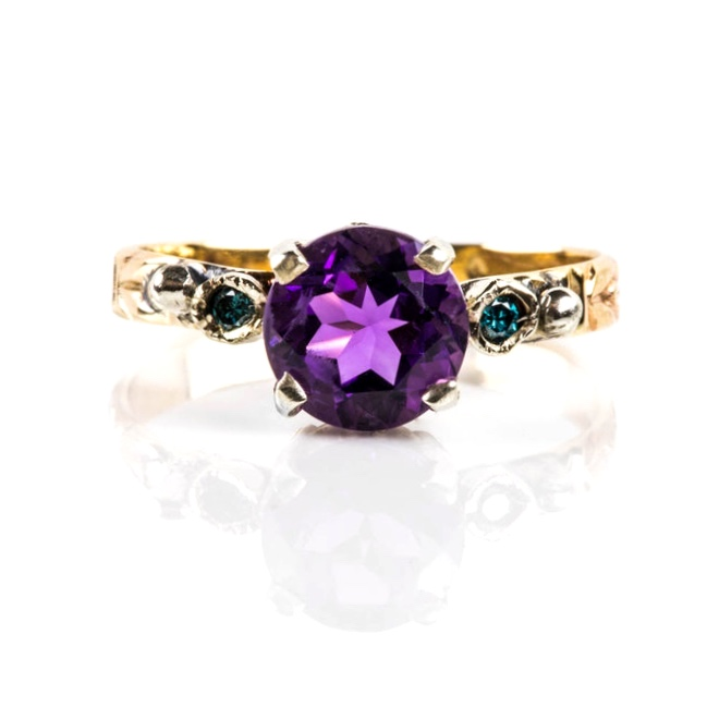Amethyst and Teal Diamond Ring by  J.Noelle