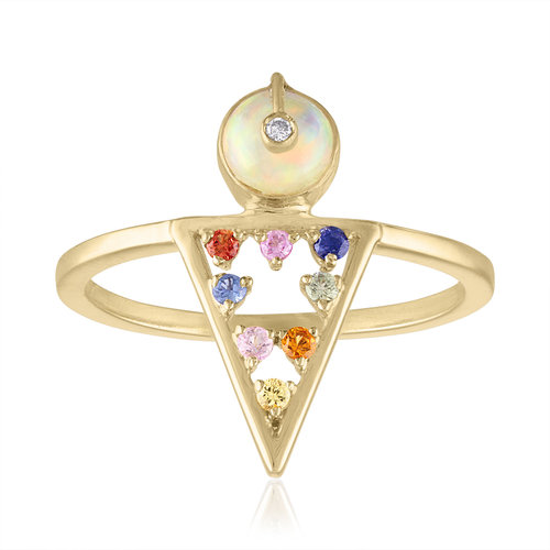 MODERNE GEOMETRIC RING WITH ETHIOPIAN OPAL AND MUTLI COLORED SAPPHIRES