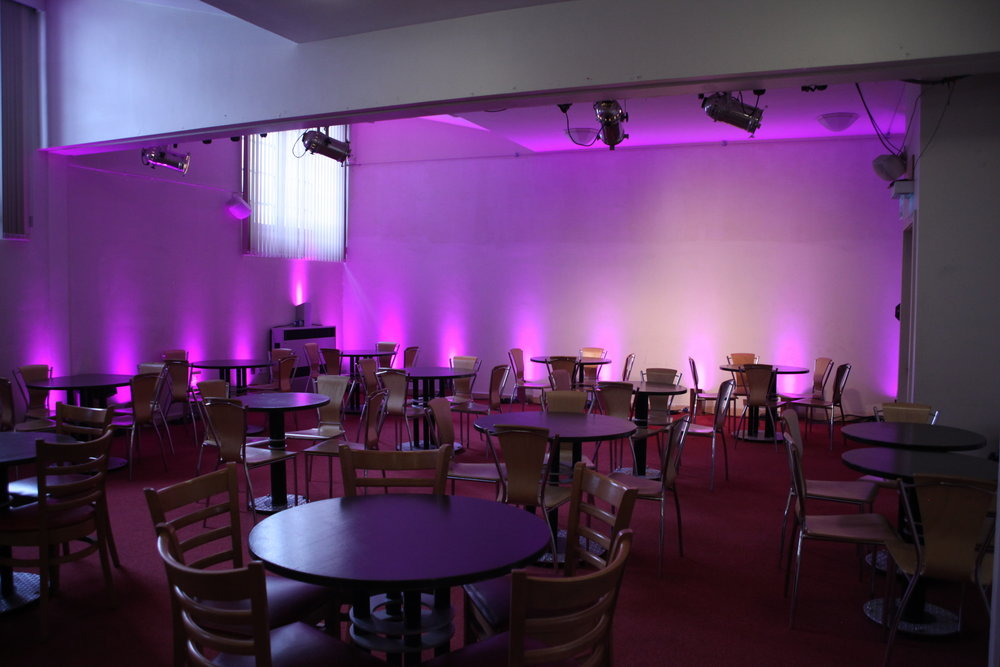 Cafe Bar - Our Cafe Bar is a large multi-purpose space which can be used for a range of events and performances. We can accommodate up to 70 people for intimate performances, conference lunches and special events. Our Cafe Bar is open on Saturdays as a cafe and as a Cafe Bar 45 minutes before each show. Room capacity: 60 - 75 peopleSize: cabaret style 23''4