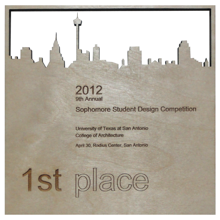 1st Place - The jury consisted of a group of Architects, Civil Engineers, and Construction Managers. After a series of phases to decide a winner, this project was awarded 1st place, among the entire sophomore studio which consisted of about 80 students