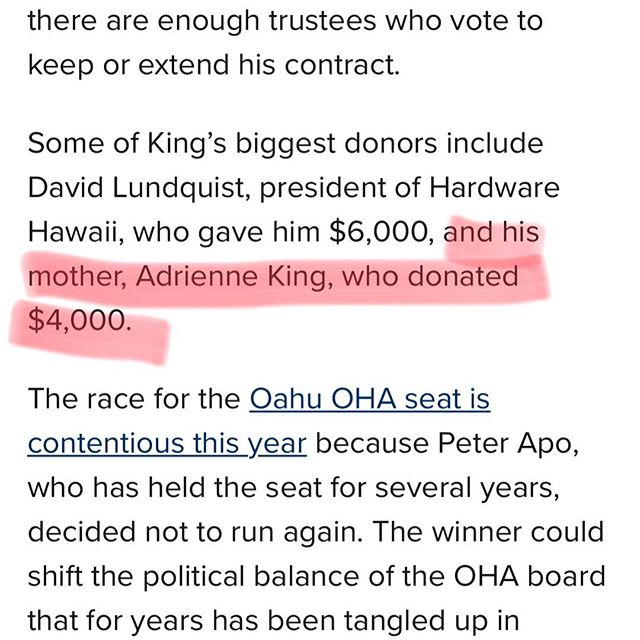 Well...at least my mother believes in me. Thanks mom!! https://www.civilbeat.org/2018/07/2-candidates-for-ohas-oahu-seat-have-a-big-financial-edge/?mobile=1