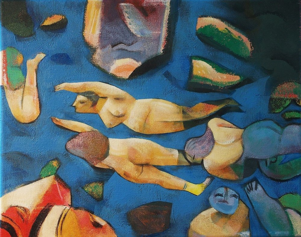 Swimmers acrylic on canvas, 2017 - cm.24x30