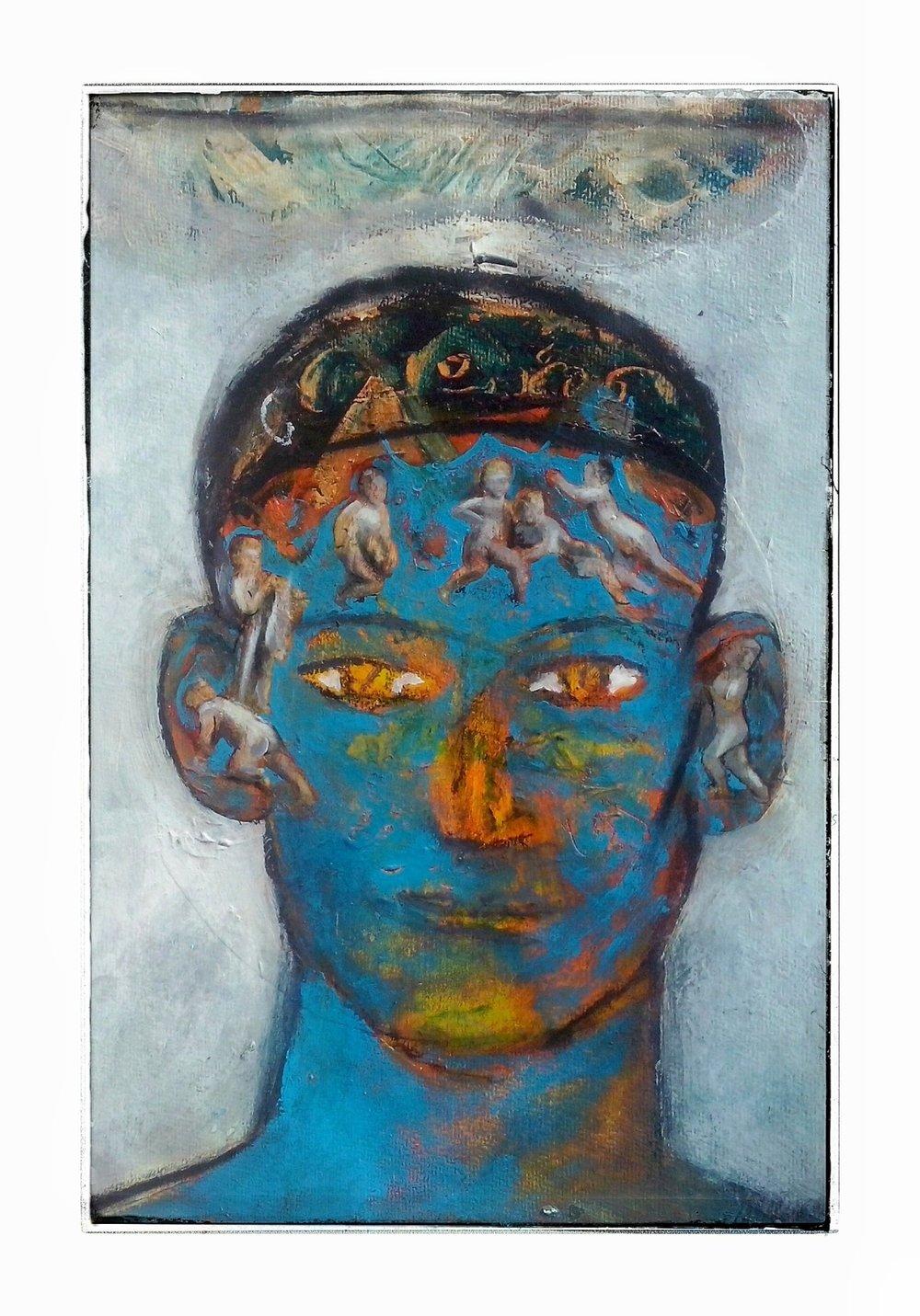 Blue Portrait  Acrylic on paper, A3