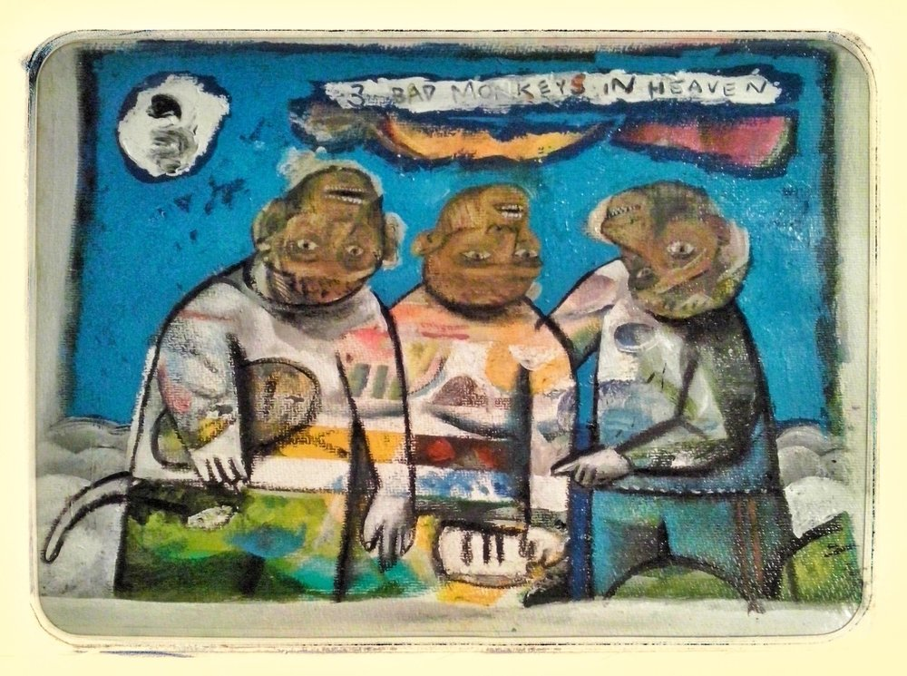 3 Bad Monkeys in Heaven  Acrylic on paper, A3