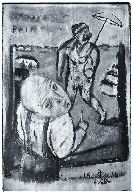 Monkey Painter  Acrylic on paper, A3