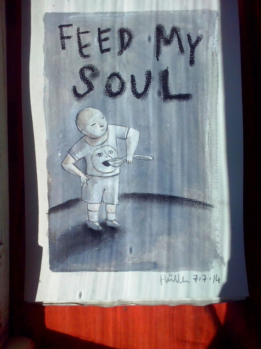 Feed my Soul  Acrylic on paper, A4